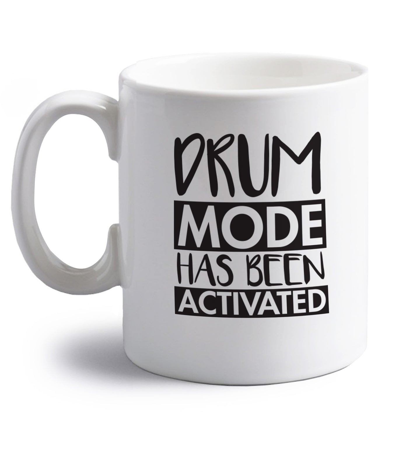 Drum mode activated right handed white ceramic mug