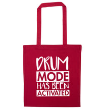 Drum mode activated red tote bag