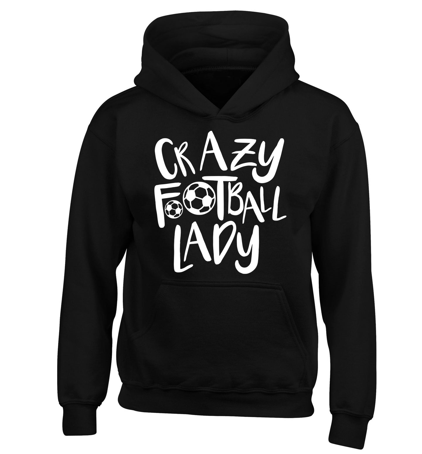 Crazy football lady children's black hoodie 12-14 Years