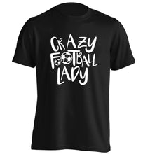 Crazy football lady adults unisexblack Tshirt 2XL