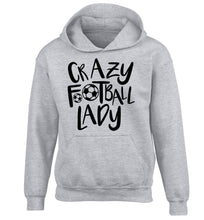 Crazy football lady children's grey hoodie 12-14 Years