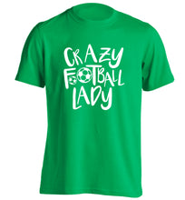 Crazy football lady adults unisexgreen Tshirt 2XL
