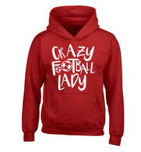 Crazy football lady children's red hoodie 12-14 Years