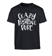 Crazy football dude Children's black Tshirt 12-14 Years