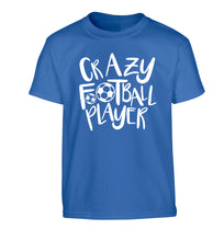Crazy football player Children's blue Tshirt 12-14 Years