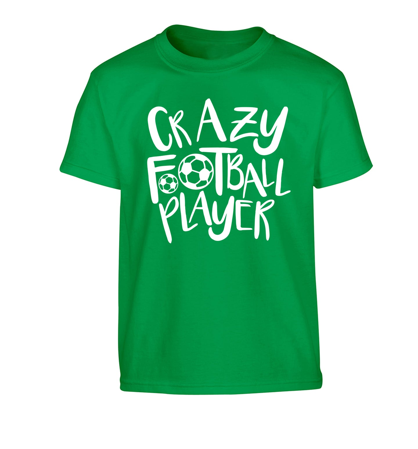 Crazy football player Children's green Tshirt 12-14 Years