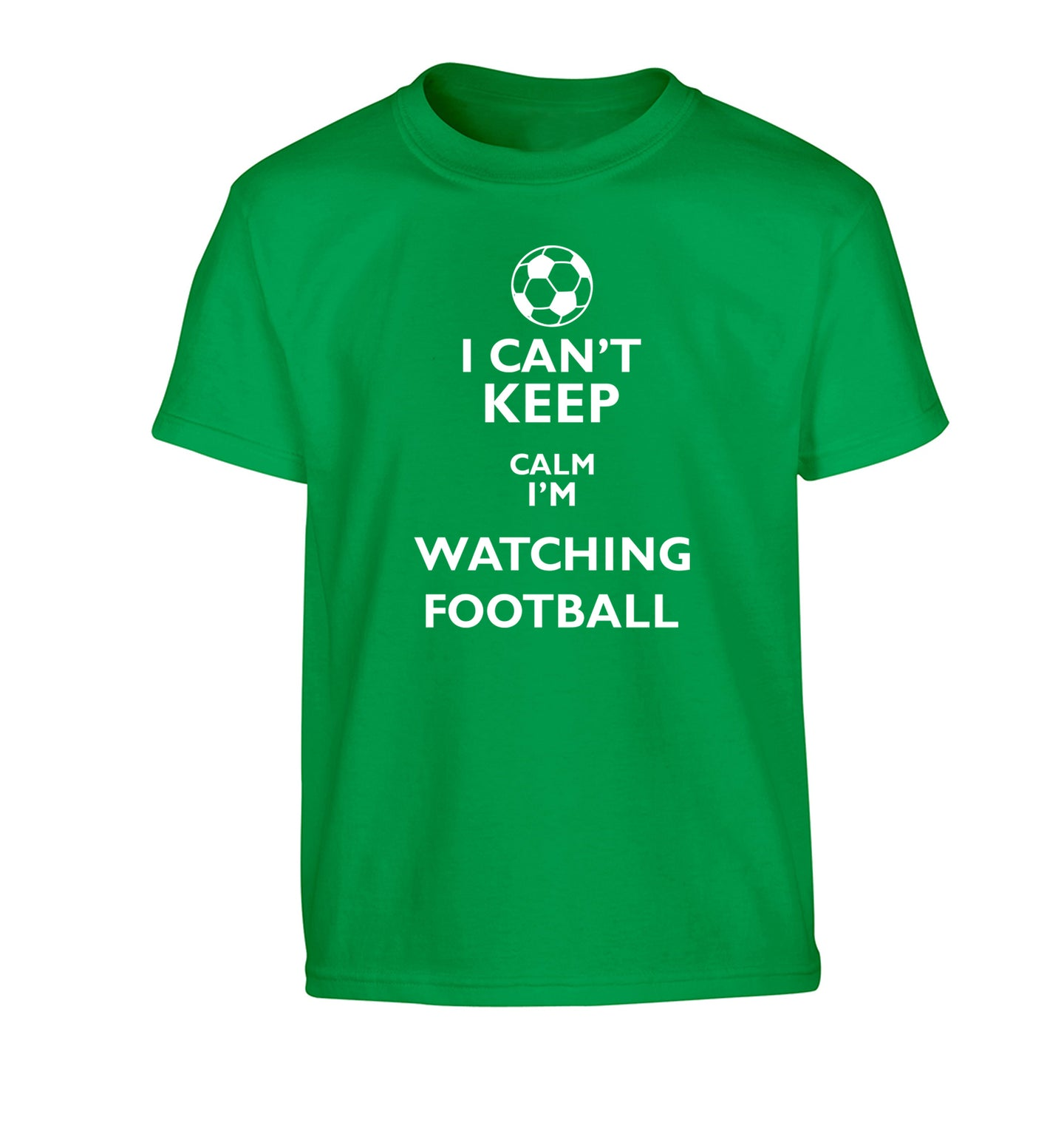 I can't keep calm I'm watching the football Children's green Tshirt 12-14 Years