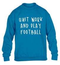 Quit work play football children's blue sweater 12-14 Years