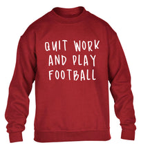 Quit work play football children's grey sweater 12-14 Years