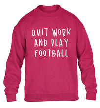 Quit work play football children's pink sweater 12-14 Years