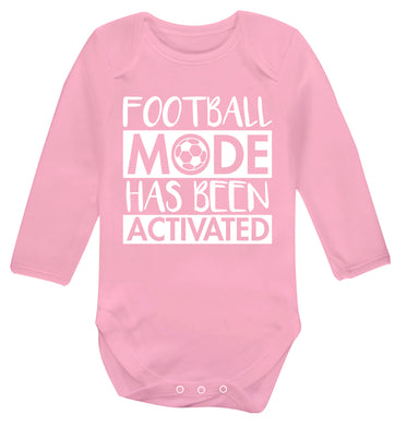 Football mode has been activated Baby Vest long sleeved pale pink 6-12 months