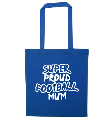 Super proud football mum blue tote bag