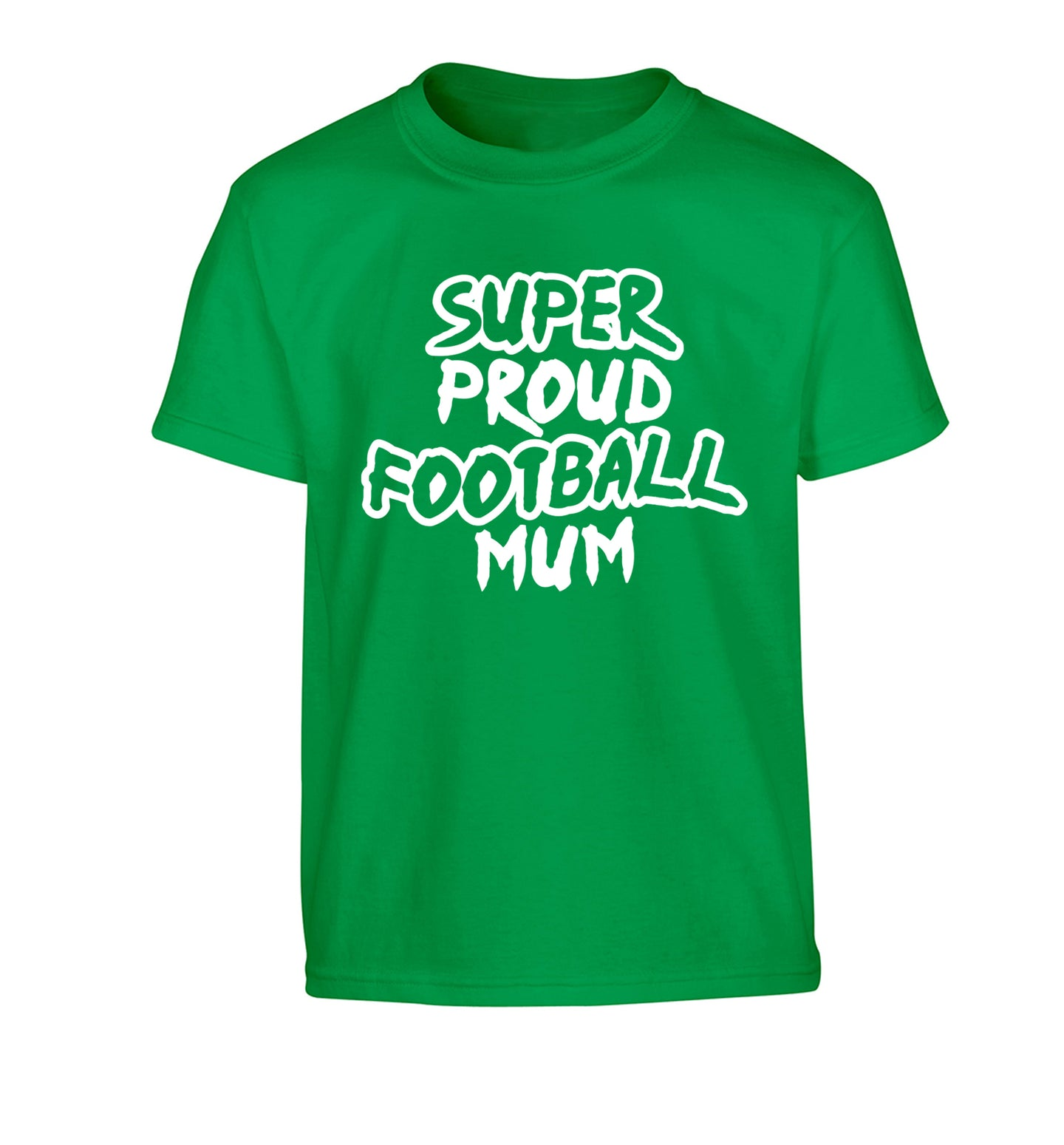 Super proud football mum Children's green Tshirt 12-14 Years