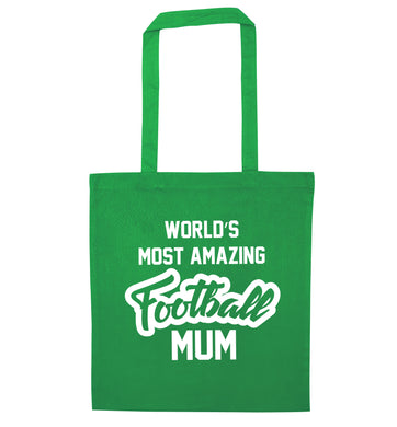 Worlds most amazing football mum green tote bag