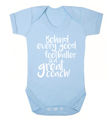Behind every good footballer is a great coach! Baby Vest pale blue 18-24 months