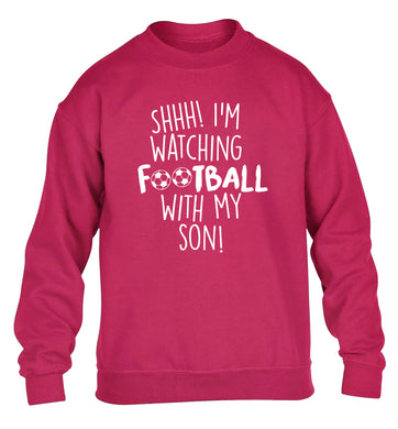 Shhh I'm watching football with my son children's pink sweater 12-14 Years