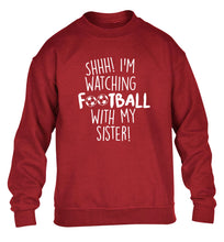 Shhh I'm watching football with my sister children's grey sweater 12-14 Years