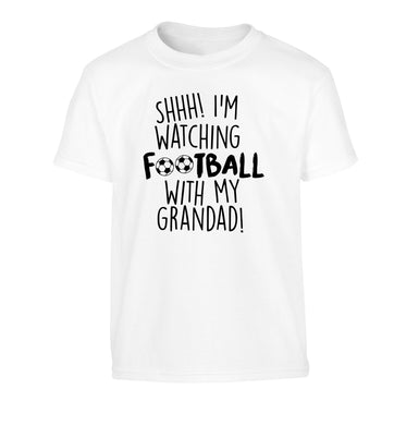 Shhh I'm watching football with my grandad Children's white Tshirt 12-14 Years