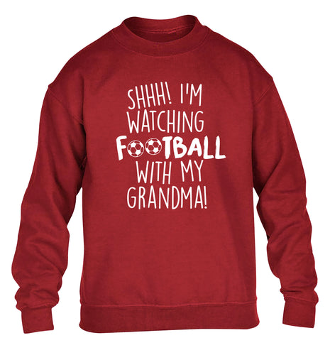 Shhh I'm watching football with my grandma children's grey sweater 12-14 Years