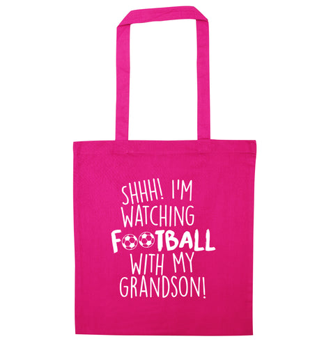 Shhh I'm watching football with my grandson pink tote bag