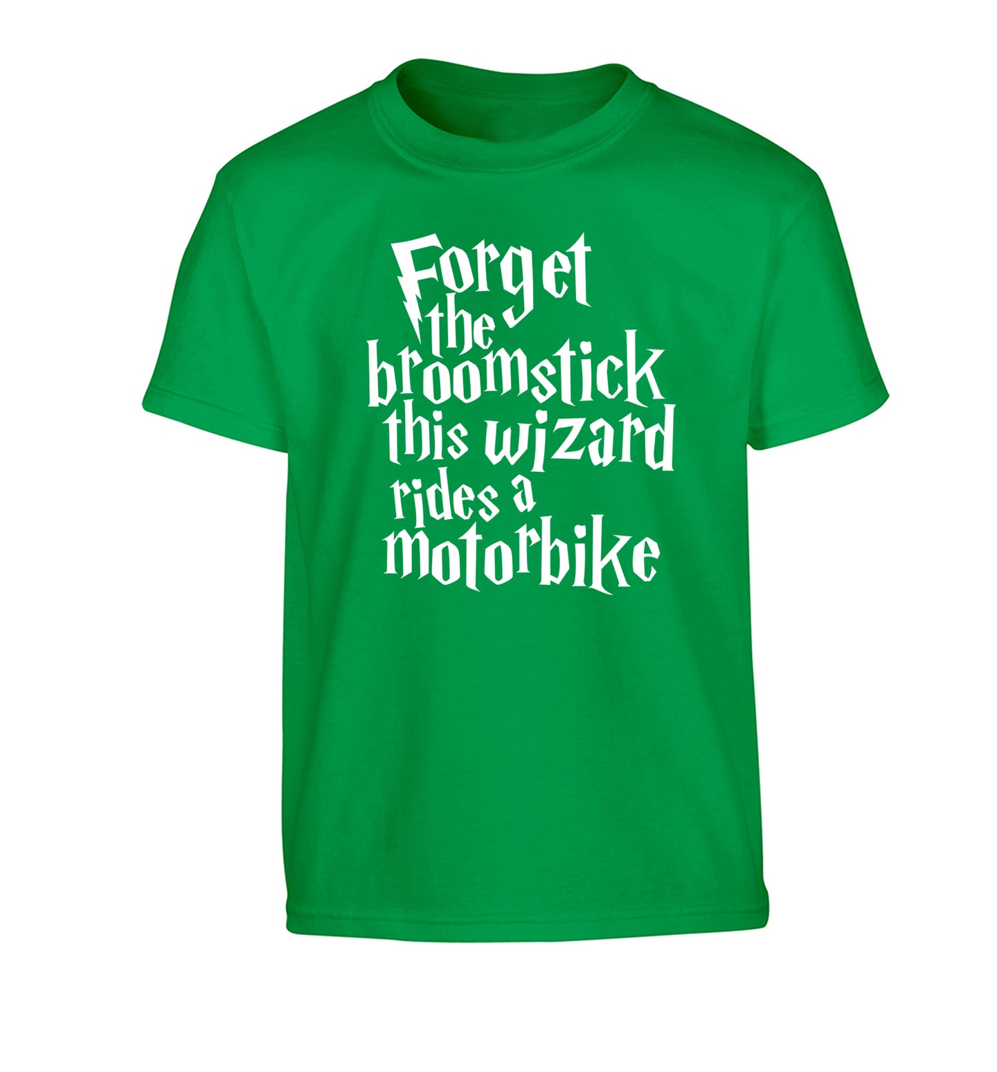 Forget the broomstick this wizard rides a motorbike Children's green Tshirt 12-14 Years