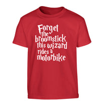 Forget the broomstick this wizard rides a motorbike Children's red Tshirt 12-14 Years
