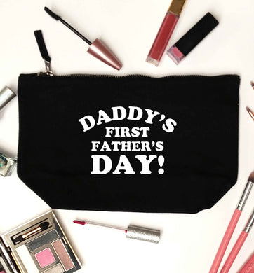 Daddy's first father's day black makeup bag