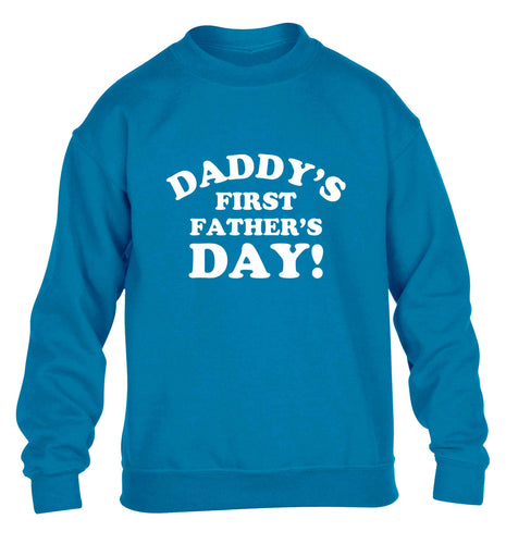 Daddy's first father's day children's blue sweater 12-13 Years