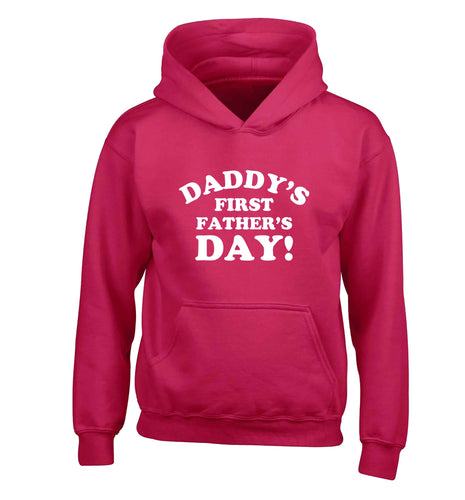 Daddy's first father's day children's pink hoodie 12-13 Years