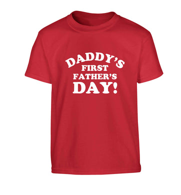 Daddy's first father's day Children's red Tshirt 12-13 Years