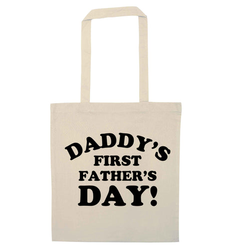 Daddy's first father's day natural tote bag