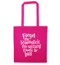 Forget the broomstick this wizard travels by bus pink tote bag