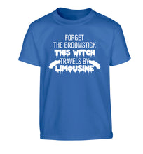 Forget the broomstick this witch travels by limousine Children's blue Tshirt 12-14 Years