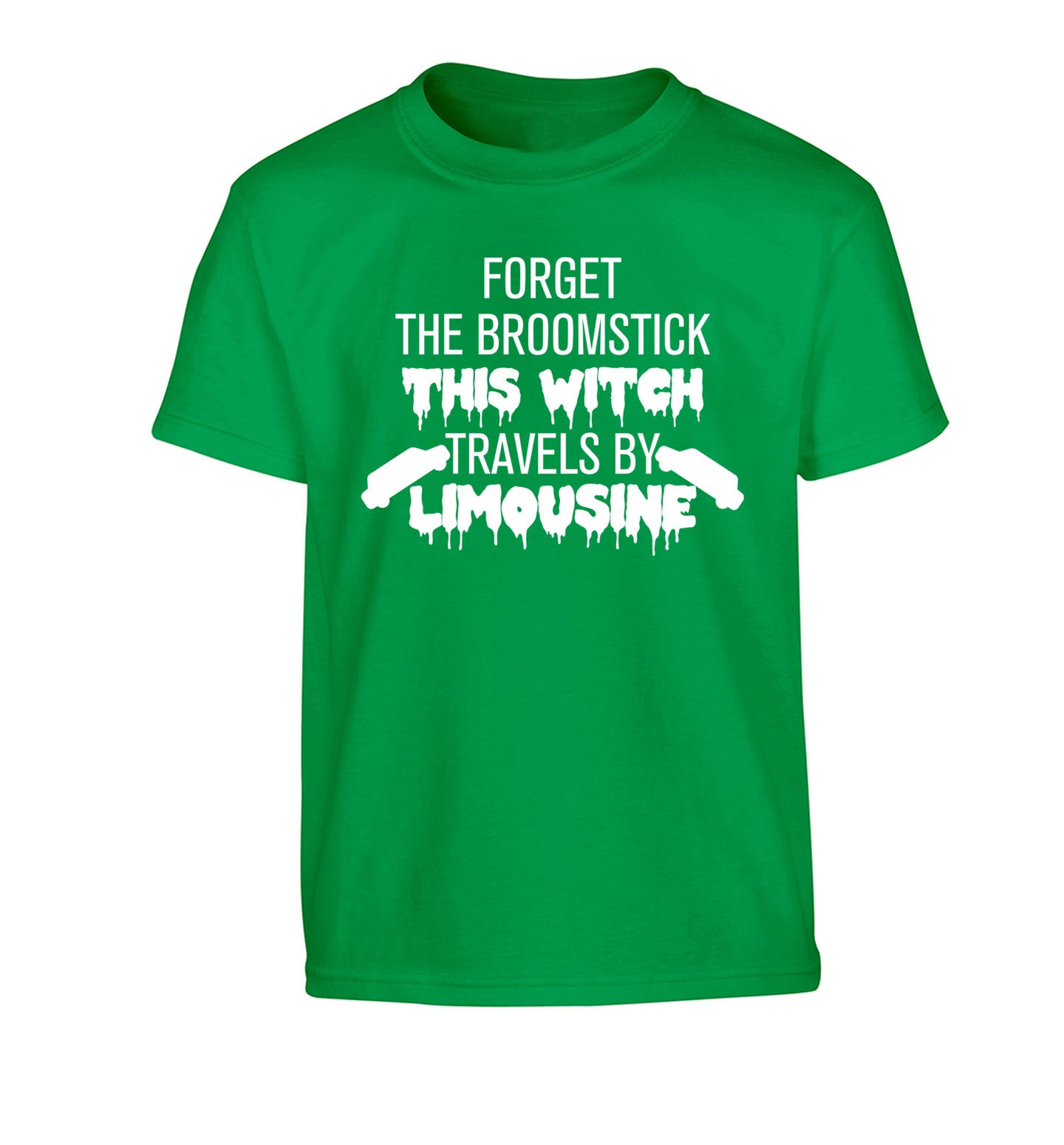 Forget the broomstick this witch travels by limousine Children's green Tshirt 12-14 Years