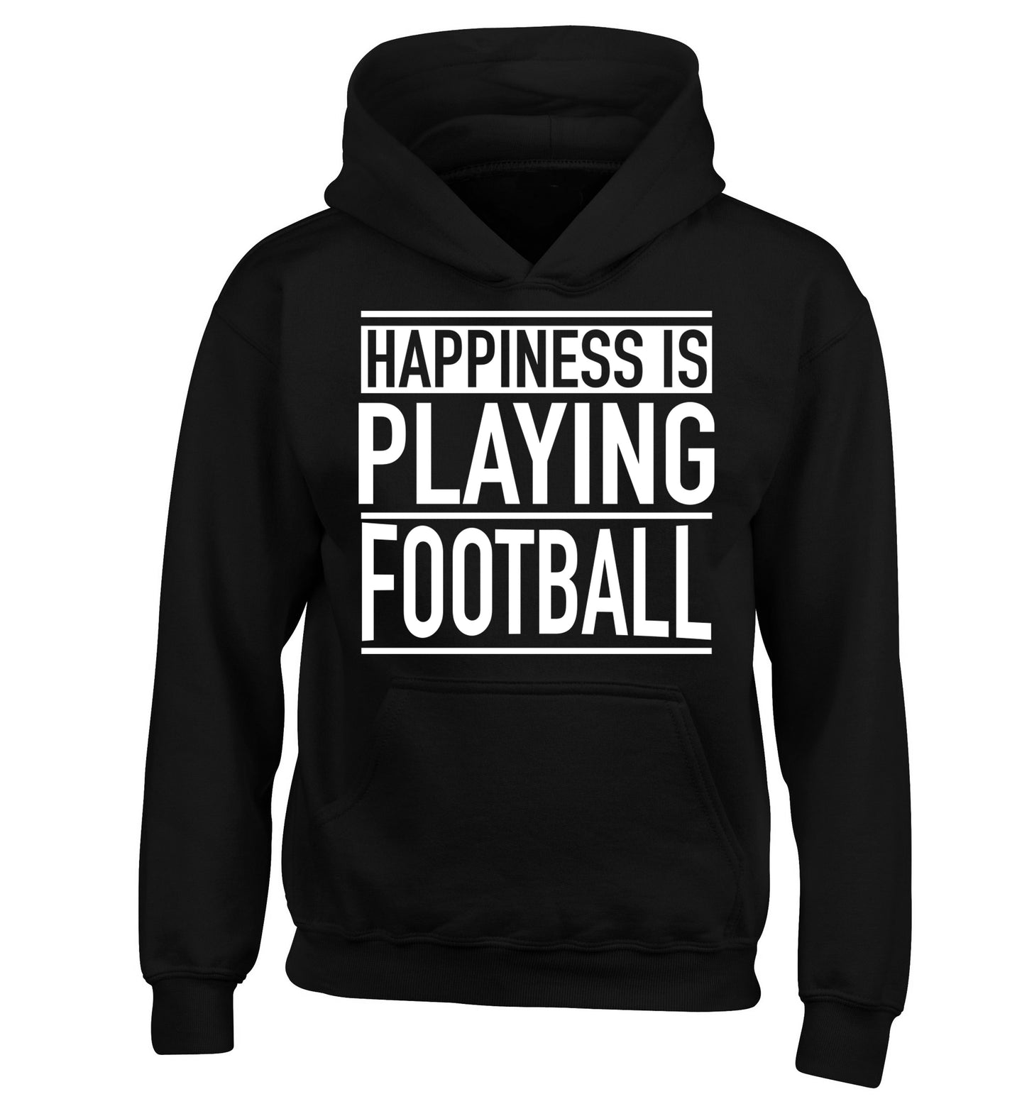 Happiness is playing football children's black hoodie 12-14 Years