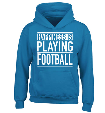 Happiness is playing football children's blue hoodie 12-14 Years