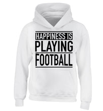 Happiness is playing football children's white hoodie 12-14 Years