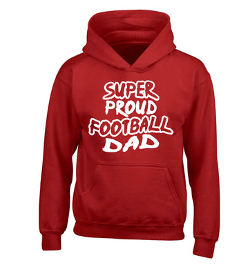 Super proud football dad children's red hoodie 12-14 Years