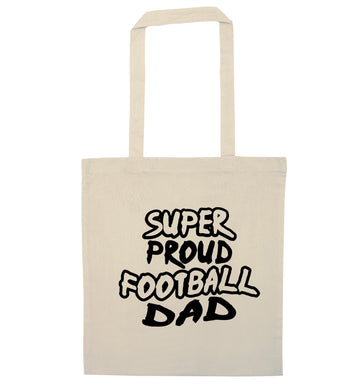 Super proud football dad natural tote bag