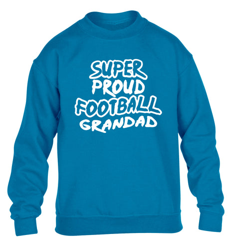 Super proud football grandad children's blue sweater 12-14 Years