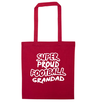 Super proud football grandad red tote bag
