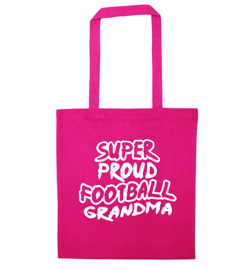 Super proud football grandma pink tote bag