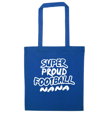 Super proud football nana blue tote bag