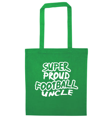 Super proud football uncle green tote bag