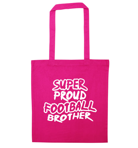 Super proud football brother pink tote bag