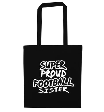 Super proud football sister black tote bag