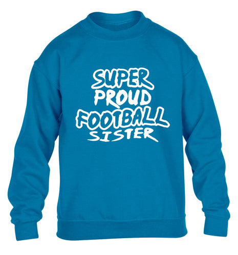 Super proud football sister children's blue sweater 12-14 Years