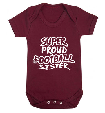 Super proud football sister Baby Vest maroon 18-24 months