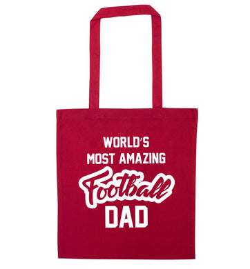 Worlds most amazing football dad red tote bag