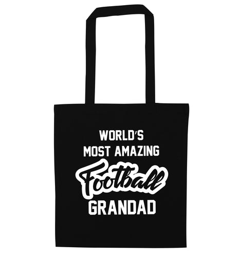 Worlds most amazing football grandad black tote bag